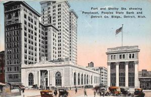 11816 MI Detroit 1915  Fort and Shelby St. Penobscot,  Peoples State Bank and...