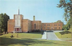 Pittsfield Massachusetts~St Teresa Church And Rectory~Block Tower~1950s Postcard