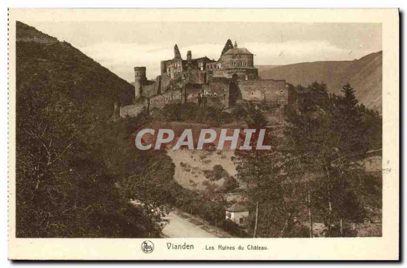VINTAGE POSTCARD Vianden Ruins of the Castle
