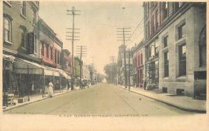 C-1905 East Queen Street Hampton Virginia hand colored Holt postcard 9609