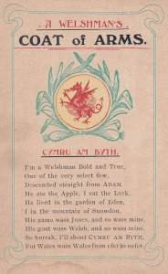 WALES, 1900-1910's; A Welshman's Coat Of Arms, Cymru Am Byth