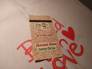 Vintage Sherman House Century Old Inn, Batesville, Indiana Matchbook Cover