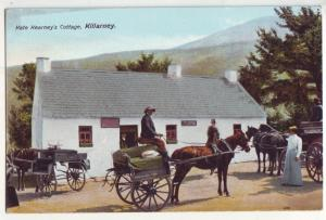 P854 old card donkeys 3 wagons kate kearneys cottage killarney ireland