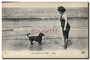 Old Postcard Dog Dogs For bathing Female Friends