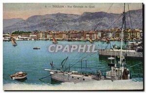 Old Postcard Toulon Vue Generale Boat Quay