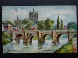 HEREFORD Bridge & Cathedral by Artist Arthur C. Payne c1905 Postcard