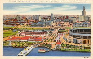 LP70 Cleveland Ohio Postcard Great Lakes Exposition Airplane View