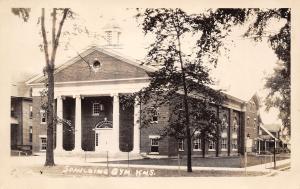Spaulding KS Colonial Gymnasium~Belfry~Pillars~Round Window~Fanlight~RPPC c1931