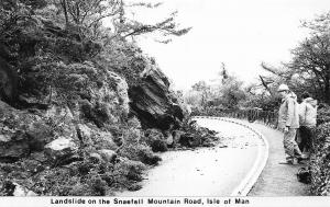 Isle of Man Landslide on the Snaefell Mountain Road Postcard