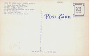 JACKSON MISSISSIPPI LARGE LETTER-PHOTO KEY ON REVERSE POSTCARD 1940s