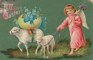 EASTER, 190-10s; Angel shepherdess guiding sheep with eggshell of flowers