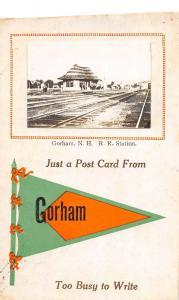 B6/ Gorham New Hampshire NH Real Photo RPPC Postcard 1914 Railroad DEPOT Station