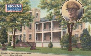 Little Rock, AR, Gen. MacArthur Birthplace, 1947 Linen Vintage Postcard g8400