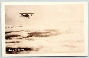 WWI Real Photo Postcard~Military Bi-Plane Flying Above The Clouds~c1918 RPPC