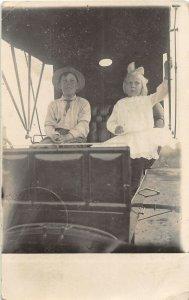 G32/ Emerald Emerson? Nebraska RPPC Postcard 1910 Boy Girl Automobile Wagon?