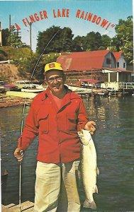 Happy Fisherman With Eight Pound Finger Lake Rainbow Trout Seneca Lake New York