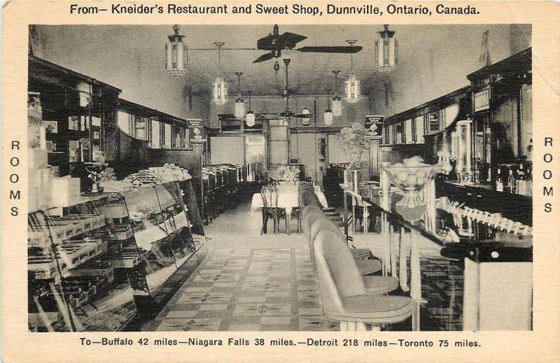 Dunnville Ont~Kneider's Restaurant & Sweet Shop Interior~Lunch Counter~1950s B&W