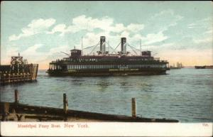 New York City Municipal Ferry Boat & Dock Used 1909 Postcard
