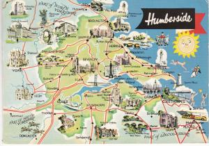 Post Card  illustrated map Humberside Dennis Productions