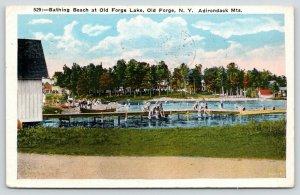 Old Forge New York~Adirondack Mts~Lake Bathing Beach~Kids Dangle on Docks~1933