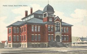 c1910 Lithograph Postcard; Public School, Sand Point /Sandpoint ID Bonner County