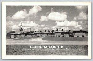 Brownsville Texas~Glenora Courts~Roadside Motel Highway 77~1940s B&W Postcard