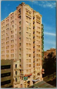 Vintage 1950s Los Angeles CA Postcard MAYFLOWER HOTEL Grand Avenue View Unused