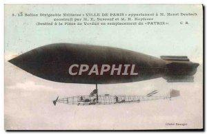 Old Postcard Jet Aviation Zeppelin Airship City of Paris Henri Deutsch Surcou...