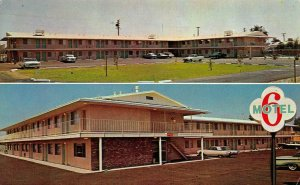 FRESNO, CA California   MOTEL 6    Roadside   c1960's Chrome Split View Postcard