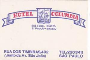 BRASIL SAO PAULO HOTEL COLUMBIA VINTAGE LUGGAGE LABEL