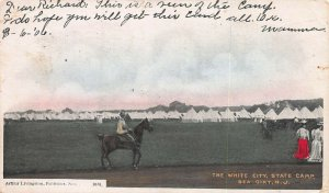 White City State Camp, Sea Girt, NJ, Early Hand Colored Postcard, Used in 1906
