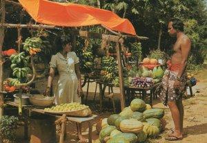 Fruit & Vegetable Stall Ceylon India Postcard