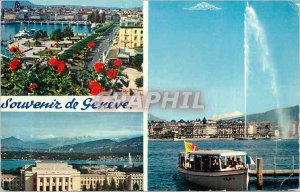 Modern Postcard Souvenir de Geneve La Rade The Palace of Nations The Water Je...