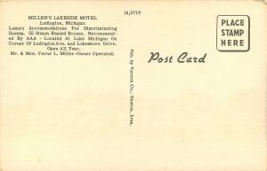 Ludington Michigan~Miller's Lakeside Motel~AAA~1940s Roadside Linen Postcard