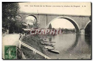 Old Postcard The Banks of the Marne saw under the viaduct of Nogent