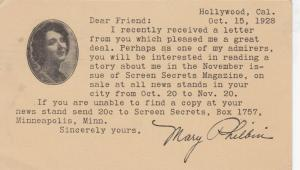 HOLLYWOOD , California , PU-1928; Postcard from Mary Philbin to a fan