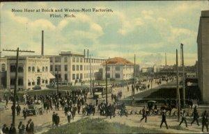 Flint MI Noon Hour Buick & Weston Mott Factories c1910 Postcard