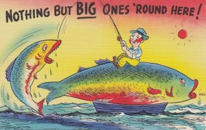Exaggeration Fishing Comic Postcard , 30-40s : #8