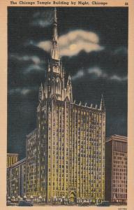 Chicago IL, Illinois - Temple Building at Night - Linen