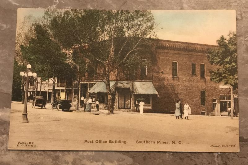Post Office Southern Pines North Carolina Hand Colored Postcard