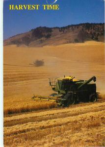 Spokane WA Wheat Fields Harvesting Combine Kansas Postcard  # 6630