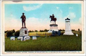 PA - Gettysburg. Statue of Gen Buford, Gen Reynolds & Hall's 2nd Maine Battery