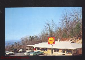 THORN HILL TENNESSEE CLINCH MOUNTAIN LOOKOUT GAS STATION OLD CARS POSTCARD