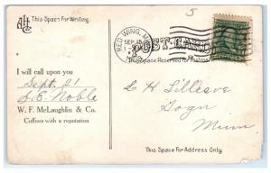 1908 Grading Coffee at McLaughlin & Co's Rio de Janeiro, Brazil Office Postcard