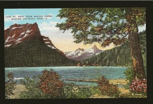 USA Lake St. Mary From Baring Creek Glacier National Park Montana Linen Postcard