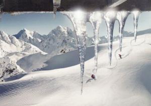 Ski Skiing Through GIANT Icicles Glacier UNIQUE London Photo Agency Art Postcard