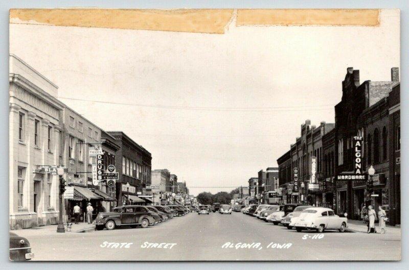 Algona IA~Tigges Drugs~1st Nat'l Bank w/Blatz Beer Sign~Sharp Jeweler~1952 RPPC