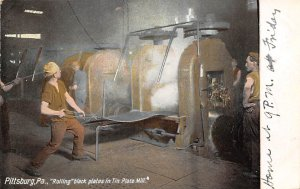 Occupation Post Card Rolling Black Plates in Tin Plate Mill Pittsburgh, Penns...