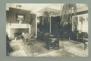 Rochester MINNESOTA RPPC 1914 INTERIOR KAHLER HOTEL Lounge Plants Art Tables