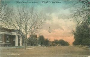 C-1910 North Pennsylvania Avenue Postcard Roswell New Mexico hand colored 3368